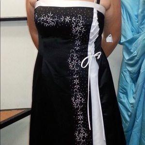Black & white beaded formal dress